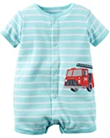 Carter's Baby Boys' Snap-Up Cotton Romper (9 Months, Blue/Firetruck)
