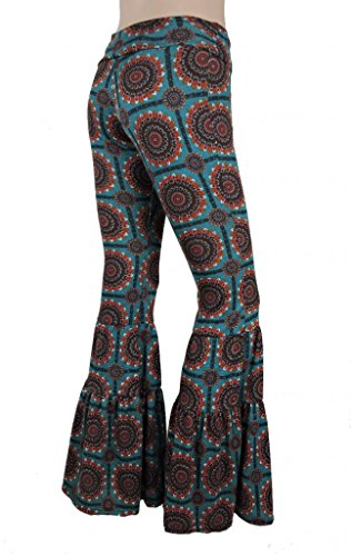 Sugar Rock Women Paisley Palazzo Hippie Pants Fold-Over Waist Bell Bottom Leg