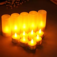 LACGO LED Flameless Candles, Rechargeable Tea Light Candles Lamps with Holders Charging Station for Party Wedding Home Garden Outdoor Indoor Decoration