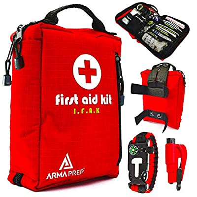 Compact First Aid Kit - IFAK Medical Kit with Labeled Compartments, MOLLE & Survival Tools - Small First Aid Kit for Boat Car Camping Hiking Travel & Backpacking by ArmaPrep
