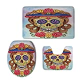 really cool shower heads iPrint 3 Piece Shower Mat Set,Day The Dead Decor,Cute Lady Mommy Skull Head Flower Hat Spanish Mexican Art Print,Multicolor,Customized