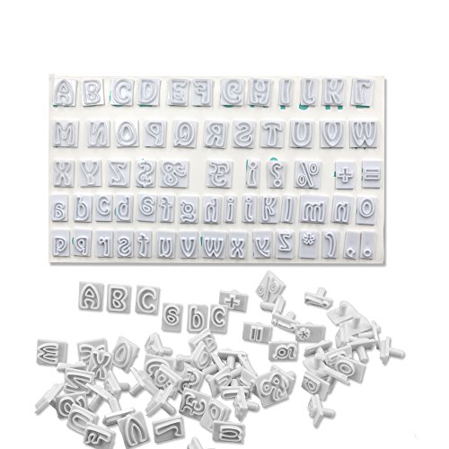 64PCS/SET DIY Characters-Upper&Lower Case Alphabet Letters Cookie Cutter Plastic Fondant Cutter Baking Mold Cake Decorating Tool