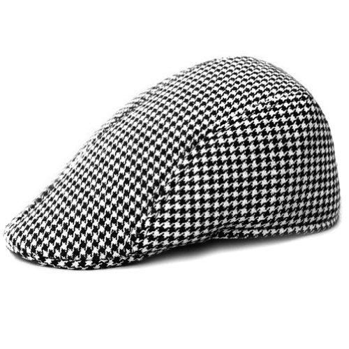 LOCOMO Retro Houndstooth Check Checker Print Pattern Flat Cap FFH119BLK
