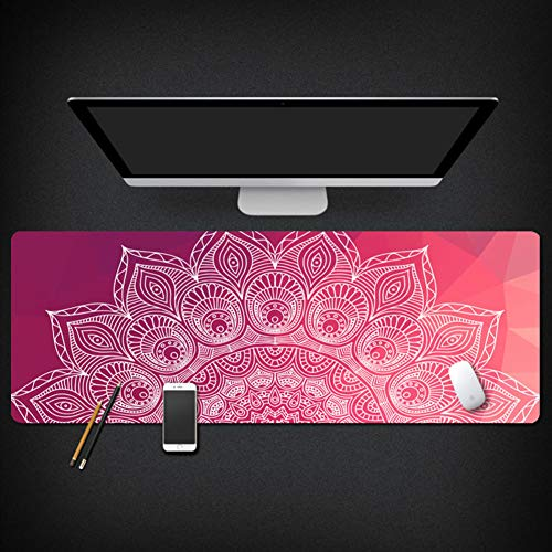 Large Wood Grain Mouse Pad,Oversized Waterproof National Style Desk Writing Mat,Gaming Keyboard Pad Trend Floral Pattern with Stitched Edges Table Pad Ideal Partner -a 40x90x0.3cm(16x35x0.11inch)