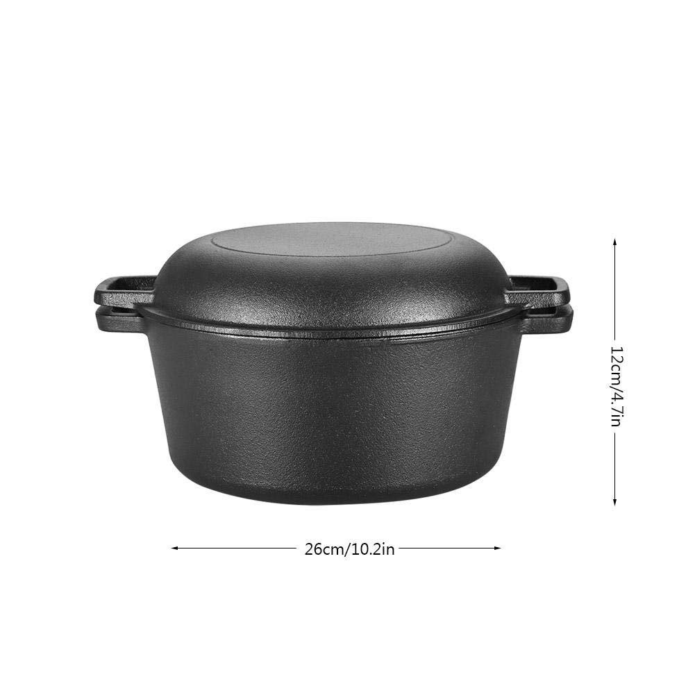 Fryer and Convertible Skillet Seasoned Cast Iron Double Dutch Oven Combo Cooker Dutch Oven 2 in 1 Pre-Seasoned Cast Iron Skillet