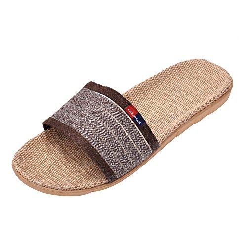 MK MATT KEELY Open-Toe Men Linen Striped Slipper Gray Home Bath Slippers House Sandals for Summer Lightweight Breathable
