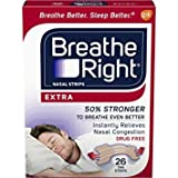 Breathe Right Extra Strength Nasal Strips for Drug-Free Congestion Relief, Tan, 26 count - Pack of 2