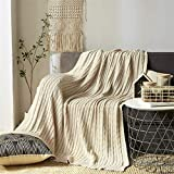 Throw Blanket Knit Decorative Wool Yarn Textured Cable Sweater Soft Warm Bedroom Decor Couch Sofa 47x70 Lightweight Indoor Outdoor Accent,Beige