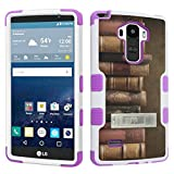 DuroCase LG G Stylo LS770 / H631 / MS631 / H634 (Released in 2015) Fashion Kickstand Case White & Purple - (Vintage Books)