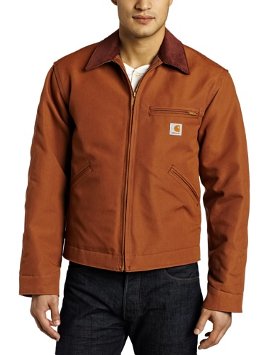 Carhartt Men's Big & Tall Weathered Duck Detroit Jacket Blanket Lined J001,Brown,Medium Tall
