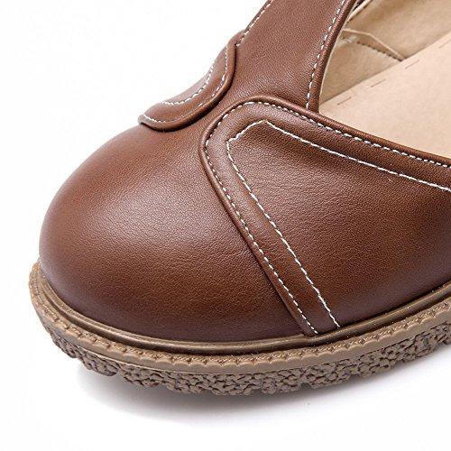 AllhqFashion Womens Buckle PU Round Closed Toe Low-Heels Solid Pumps-Shoes Brown yOlp3B94