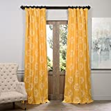 HPD HALF PRICE DRAPES Half Price Drapes PRTW-D11-108 Printed Cotton Curtain, Isles Mustard For Sale