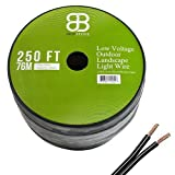 Dripstone Low Voltage 12AWG 2Core Outdoor Light Parallel Flat-Twin Bare COPPER Wire Landscape Lighting Cable 12/2 (250ft)