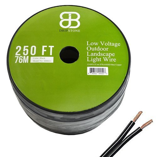 Dripstone 250ft Low Voltage 12AWG 2Core Outdoor Light Parallel Flat-Twin Bare COPPER Wire Landscape Lighting Cable 12/2 Black