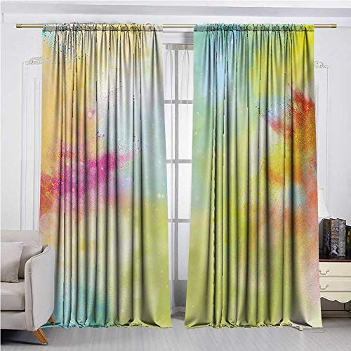 DESPKON-HOME Window Darkening Curtains,Colorful Cloudy Milky Way Like Blur Smokey Colors Dust Powder Universe Outer Space Print Darkening Darkening Curtains (108W x 72L inch,Multicolor) (Iron Craft 72 In Powder)