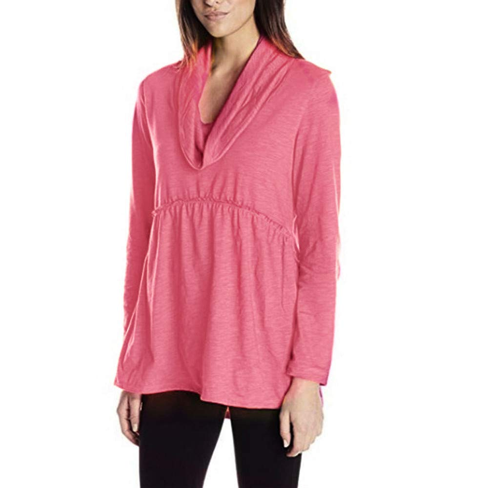Womens Tops Clearance - WEUIE Womens Solid Long Sleeve Heap Collar Causal Blouses Tops Shirts Tee Top(S, Pink)