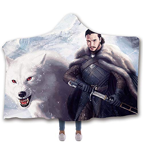 (Desdemona Sakura Novelty 3D Hooded Blankets, Jon Snow and Ghost Got Thrones Sherpa Throw Blankets Warm Cozy Blankets for Kids Adults 60