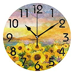 Naanle Beautiful Sunflower Field Oil Painting Print Round Wall Clock Decorative, 9.5 Inch Battery Operated Quartz Analog Quiet Desk Clock for Home,Office,School
