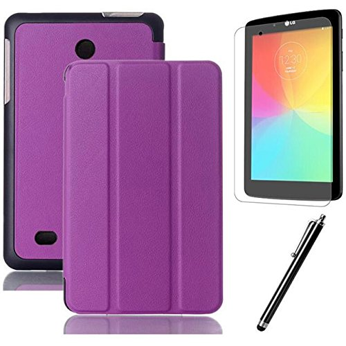 LG G pad 7.0 Case,Beebiz PU Leather and Hard PC Back Smart Cover for LG G Pad 7.0 V400 / V410 (LTE) 7-Inch Android Tablet Cases and Covers with Screen Protector and Touch pen (3-Fold,Purple)