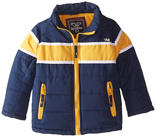 Detachable Hood Navy Boys' Stripe Horizontal Racing YMI and with Contrasting Bubble Jacket zTPcpv