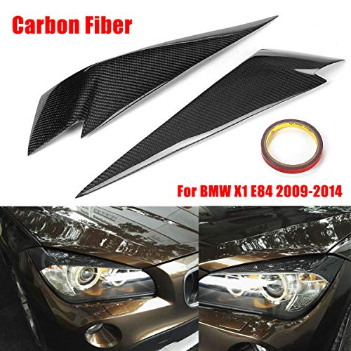 Carbon Fiber Water Mechanical (Autumn Water 1Pair Carbon Fiber Headlight Eyebrows Cover Eyelids Trim for BMW X1 E84 2009-2014 Car Styling for Front Headlamp)