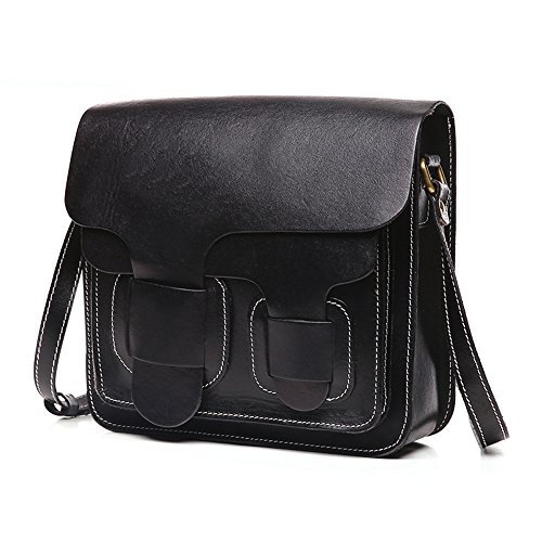 Kteam Women's Retro Leather Handbag Crossbody Satchel Message Shoulder Bag Clutch Black Qyw8603-black