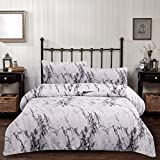 Marble Comforter Set Queen Gray and White Marble Printed Bedding Quilt Set Soft Microfiber Bedding 3 Piece(1 Comforter Set +2 Pillow Shams)