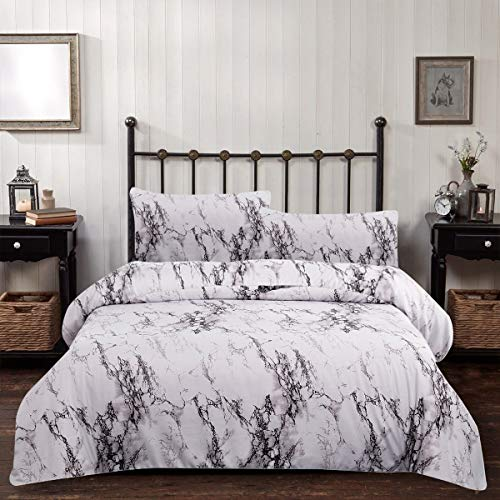 Marble Comforter Set Twin Gray White Marble Printed Bedding Quilt Set Soft Hypoallergenic Microfiber Inner Down Comforter Bedding 2 Piece(1 Comforter Set +1Pillow Sham)