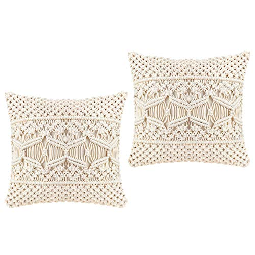 Mkono Throw Pillow Cover Macrame Cushion Case