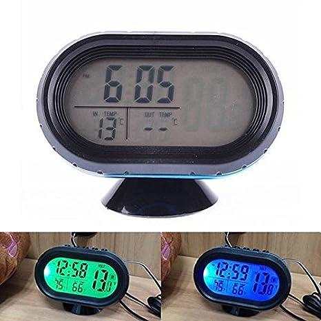 Reloj Digital para coche con pantalla de temperatura y voltímetro: Amazon.es: Electrónica