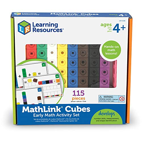 Learning Resources Early Math Mathlink Cube Activity Set, Assorted Colors, 115Piece, Ages 4+, Multicolor