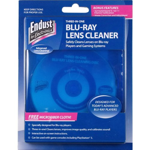 Endust for Electronics, Blu-Ray Disc Lens Cleaner, Microfiber towel included, Dust removal (3 Brush Laser Lens)