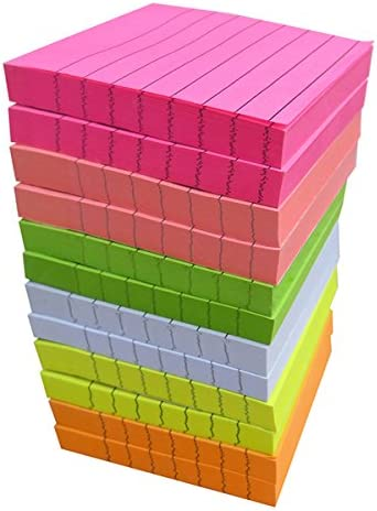 Creatiburg Sticky Note Pads 1200 Sheets Lined 3×3 inches Office Self-Stick Notes 12 Pads, 6 Bright Colors Easy Post Individually Wrapped Red Pink Green White Yellow Orange