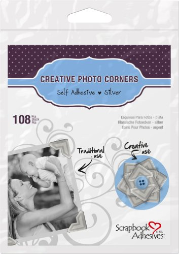 (3L Scrapbook Adhesives Self-Adhesive Creative Paper Photo Corners, Silver, 108-Pack)
