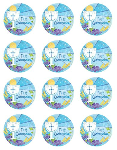 First Communion Cupcake Toppers Blue - Set of 12 -