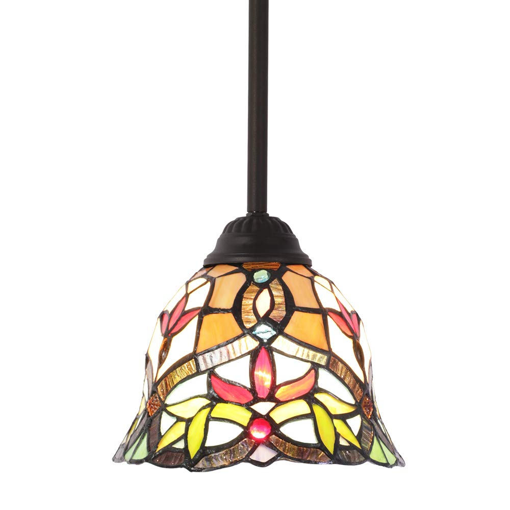 MELUCEE Tiffany Lighting Victorian, 1-Light Stained Glass Pendant Light Mini with 7.5 Inches Shade, Hanging Lamp Ceiling for Kitchen Island Dining Room Bedroom Living Room