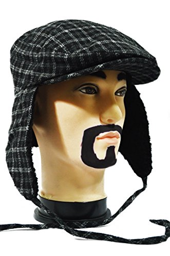 Black Plaid Cool Thick Paperboy Earflap Driving Ivy Winter Warm Casual Cap Hat
