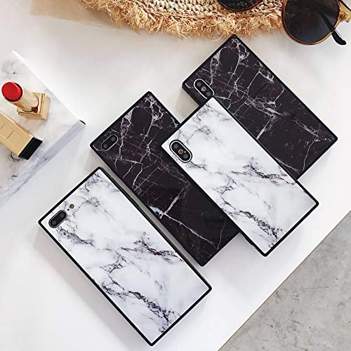 Square Marble Case for iPhone X 10 Black White Glossy Cover for iPhone 7 Plus 8plus Slim Soft Flexible TPU Shockproof Trunk Back Shell (iPhone 7Plus/8Plus 5.5'', White)