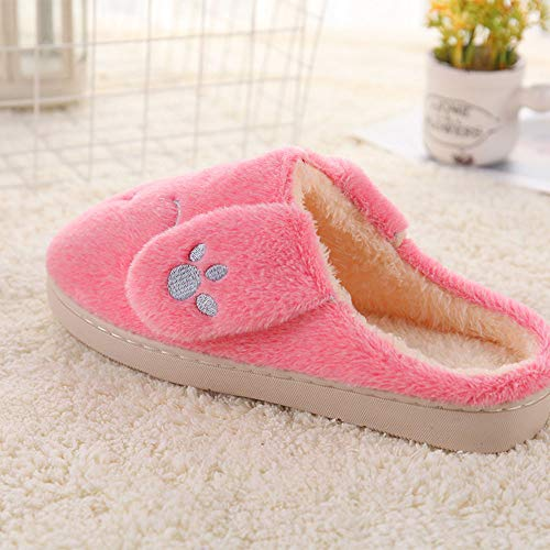 Rabbit Cute Pattern Slippers JadeRich Winter Women's Indoor Pink Fleece 5wExFtq