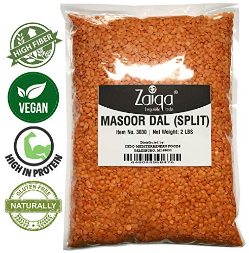 Red Lentil Beans - Red Split Lentils or Masoor Dal, Make Vegan Soups Pastas Stews Salad and Indian Curry Dishes | Excellent Source of Nutrition | Pacific Northwest Grown - 2 LBS