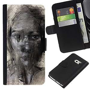 KLONGSHOP // Tirón de la caja Cartera de cuero con ranuras para tarjetas - Pintura Lápiz Arte Mujer - Samsung Galaxy S6 EDGE //