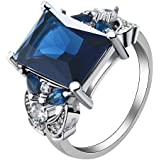 Huge Women 925 Silver Sapphire Size 6-10 Wedding Bridal Engagement#by pimchanok shop (6)