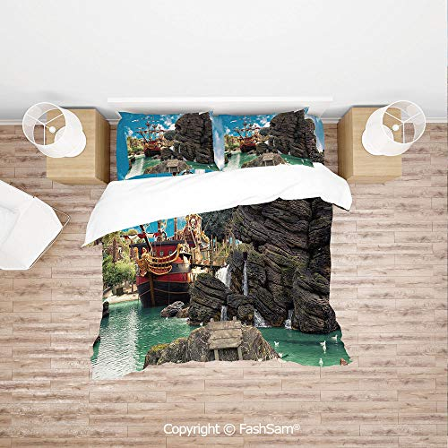 FashSam Duvet Cover 4 Pcs Comforter Cover Set Big Ancient Ship on Tropical Caribbean Seashore Pirate Island Large Rock Formation for Boys Grils Kids(Queen)