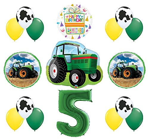 Mayflower Products 5th Birthday Farm Tractor Balloon Bouquet Decorations and Party Supplies for $<!--$19.99-->
