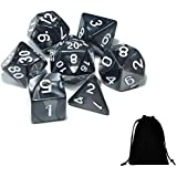 Conjunto 7 Dados para RPG de Mesa Opacos Perolados D4 D6 D8 D10 D10% D12 D20 Cor PRETA + 1 Bolsa Preta