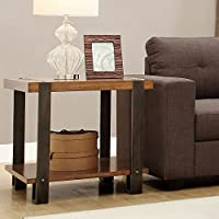 Metro Shop TRIBECCA HOME Lawson Brass and Reclaimed Wood End Table-Lawson End Table