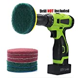 Kichwit 4 Inch Drill Power Scrubber Scouring Pads Cleaning Kit, Includes Velcro Attachment, 3 Non-Scratch Red Pads and 3 Stiff Green Pads, Heavy Duty Household Cleaning Tool