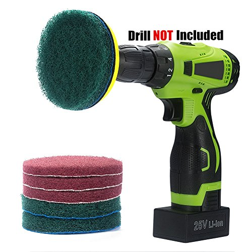 Kichwit 4 Inch Drill Power Scrubber Scouring Pads Cleaning Kit, Includes Velcro Attachment, 3 Non-Scratch Red Pads and 3 Stiff Green Pads, Heavy Duty Household Cleaning (Green Scrubber)