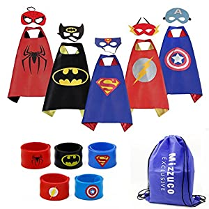 Mizzuco Kids Cartoon Dress up Costumes Satin Capes with Felt Masks and Exclusive Bag for Copslay Birthday Party (5pcs Capes)