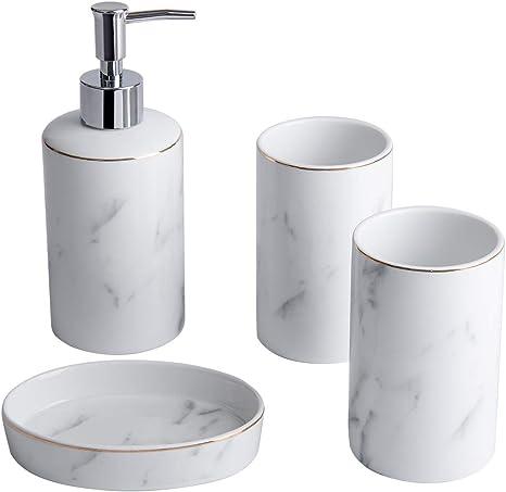 Amazon Com White Bathroom Accessories Set 4 Pieces With Hand Soap Dispenser Soap Dish And 2 Tumble Marble Bathroom Accessory Sets For Bathroom Countertop Modern Ceramic Bathroom Set Home Kitchen